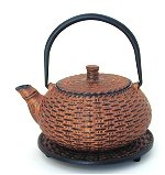Basket Weave Teapot w/Trivet and 4 Cups